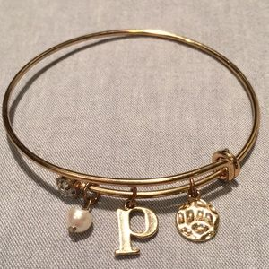 Initial P Bracelet with Pearl